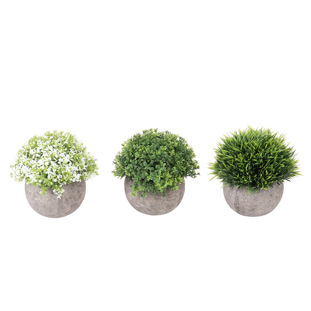 3pcs Mini Plastic Fake Faux Green Gr Simulation Artificial Plants With Pots For Home Decor