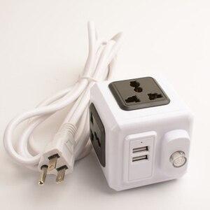 Image 5 - Smart Home PowerCube Socket EU / US / UK Plug 4 Socket 2 USB Port Adapter Power Outer Extension Adapter Universa 4 Jack Socket