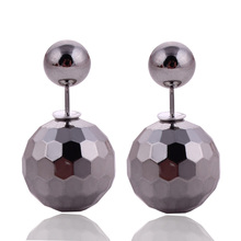 7 Colors Hot Selling Classic Double Balls Earrings Statement Jewelry Shinning Double Side Pearl Stud Earrings For Women Jewelry