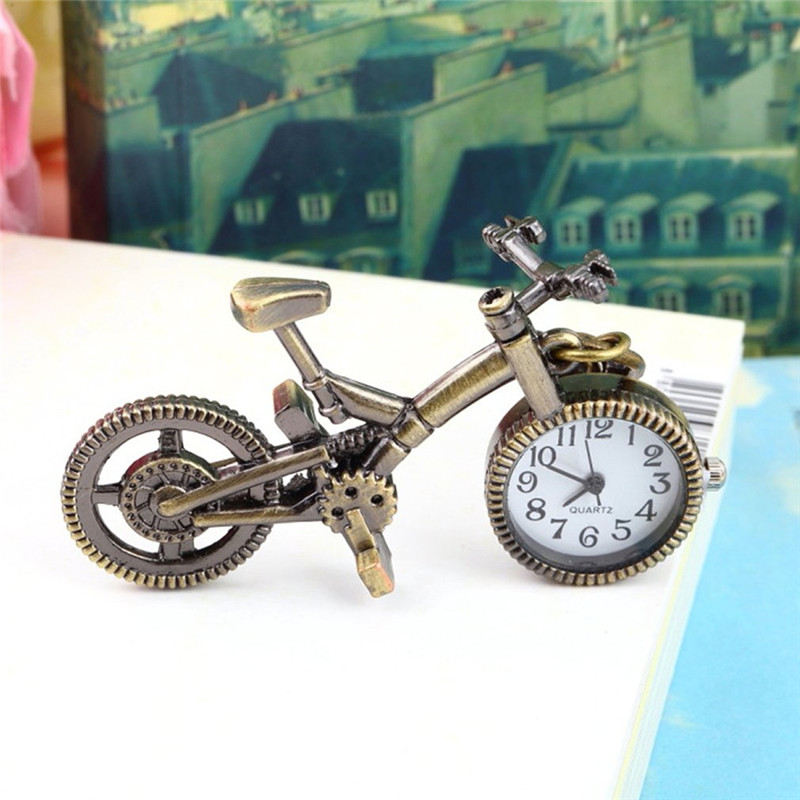 Antique Copper Steampunk Pocket Watch Vintage Bicycle Bronze Quartz Watch Creative Necklace Pendant Clock Chain Men's Women
