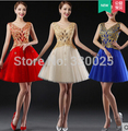 2015 Short Prom Dress Evening Party Dinner Formal Vestido De Festa Lace Embroidery Bride Sweet Puff V-neck