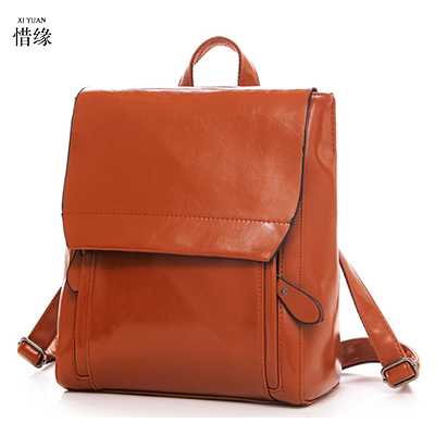 Fashion women Genuine Leather Backpack red Travel Bag woman College Style shoulder Bags Mochila Feminina Preppy Style backpacks