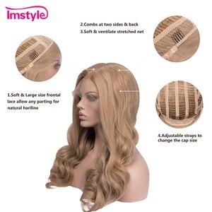 Image 4 - Imstyle Honing Blonde Pruiken Synthetische Lace Front Pruik Golvend Pruiken Voor Vrouwen Hittebestendige Vezel Lijmloze Natural Hair Cosplay Pruik