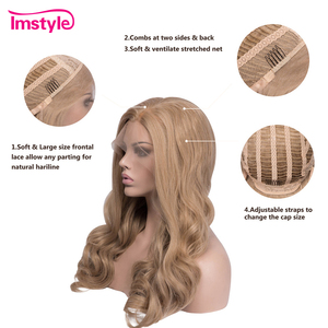 Image 4 - Imstyle 蜂蜜ブロンド合成レースの前部かつら波状のかつら耐熱繊維グルーレス自然な髪コスプレウィッグ