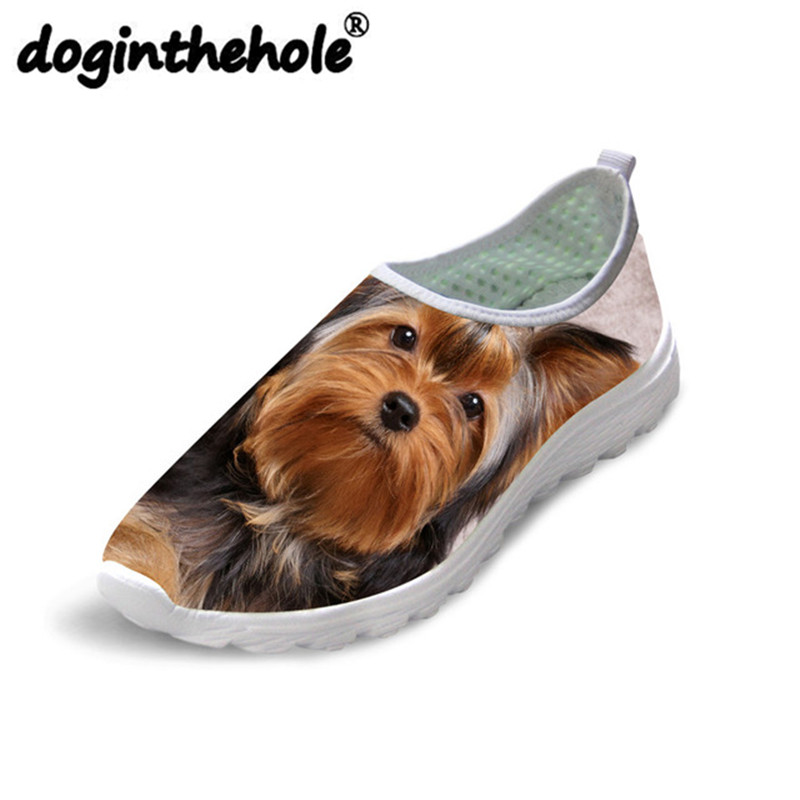 doginthehole Men Walking Shoes Cute Yorkshire Printing Women's Flats Sport Shoes Outdoor Summer Sneaker for Male Breathable Mesh