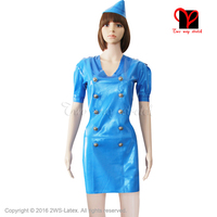 Sexy Blue Cosplay Latex Dress Air hostess double breasted uniform Rubber Playsuit side Wedge plus size Bodycon XXXL QZ 016