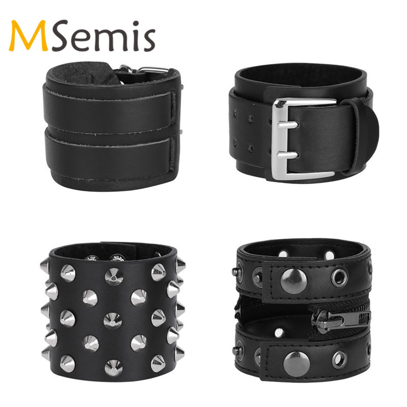 Women Mens Cuffup Bracers Faux Leather Bracers Wristband Adjustable Arm Warmers Wristband Rock Wide Cuff Bracelet Bracers Strap