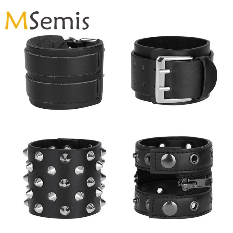 Women Mens Cuffup Bracers Faux Leather Bracers Wristband Adjustable Arm Warmers Wristband Rock Wide Cuff Bracelet Bracers Strap