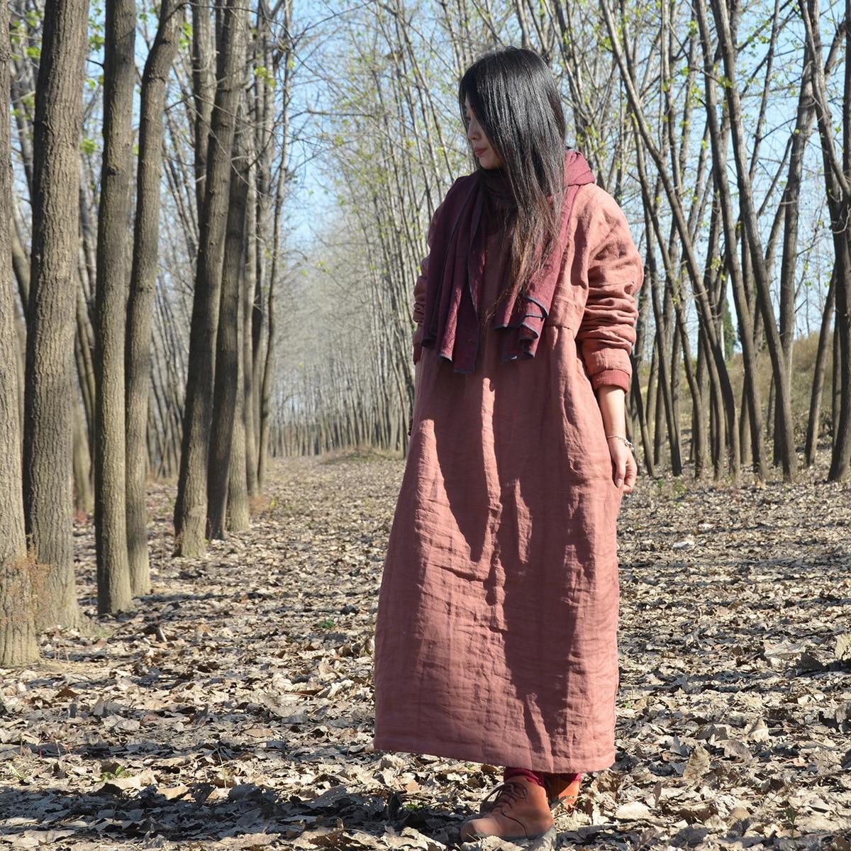 Robe Lâche Coton Rembourré La Plus Hiver Robes vintage Oversize 2019 Dames Orange Féminine Lin Noir Taille Automne Femmes Solide Vintage De EfxIqFw