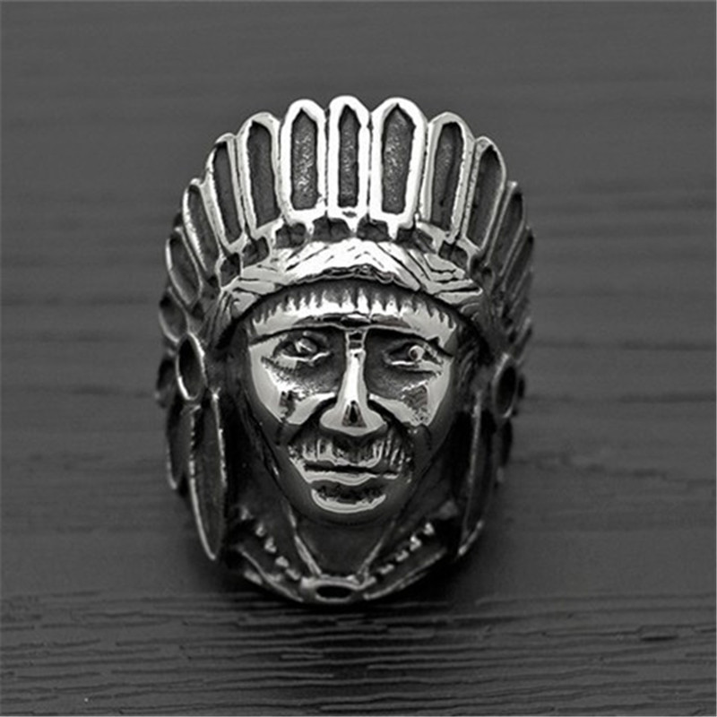 Tibetan Silver Fashion Tribe Men Apache Indian Chief Head Ring Punk Figure Jewelry