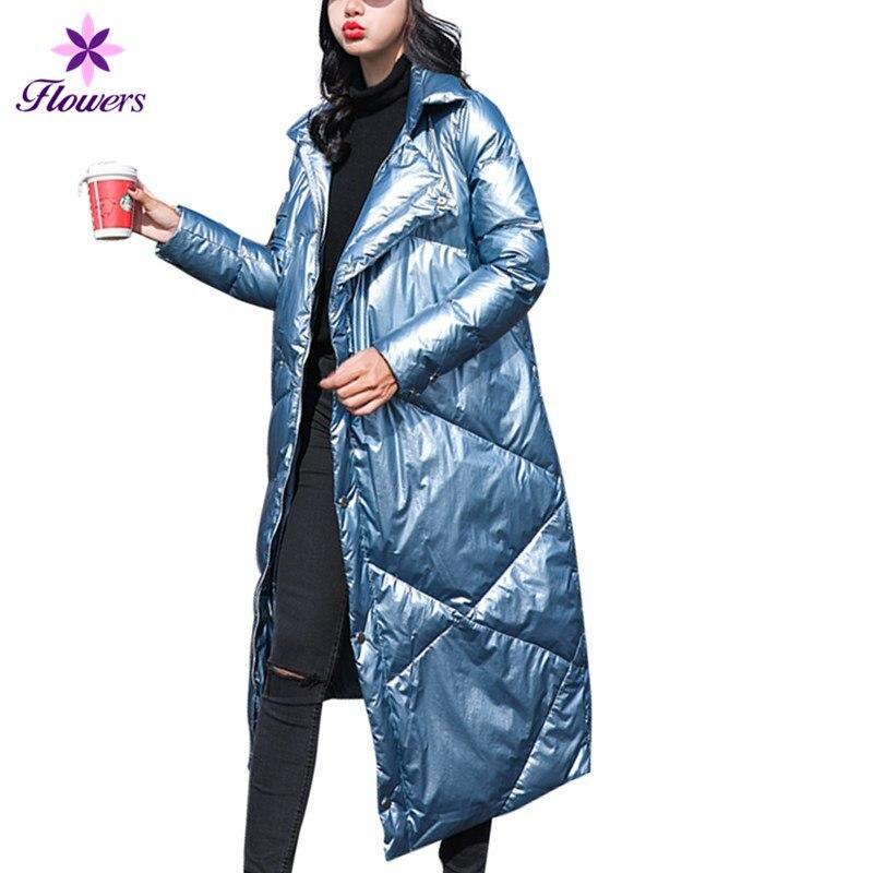 Nouvelle Blue Sur Duvet De Blanc Coréenne Vers Épais Femmes Le Light Mode Long Veste Genou Plus Manteau silver Femme Chaud Parka navy Bas Taille La Gray Hiver Brillant Canard vc4U7Wqq