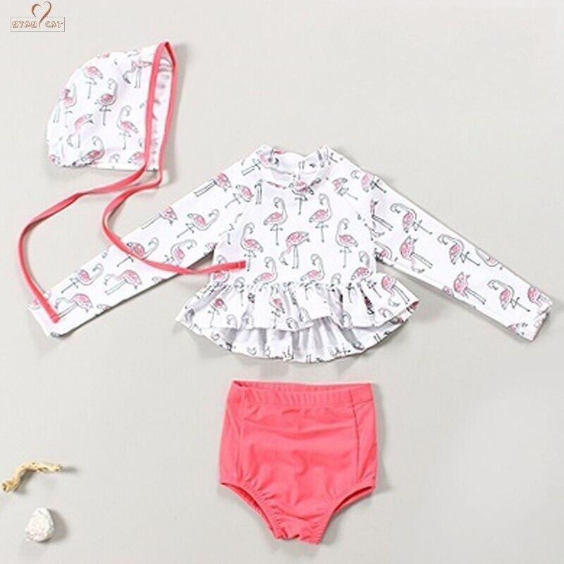 Hot Sale! Cute Baby Girl Swimwear 3 Piece Flamingo1-6Y Girls Swimsuit Kid Children Long Sleeve Sun-Protection Swimming Suit