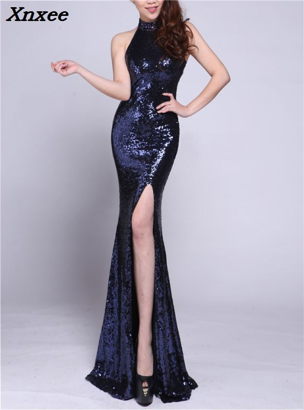2018 Sexy Halter Summer Sequins Dress Hollow Out Long Evening Party Club Woman Split Mermiad Maxi