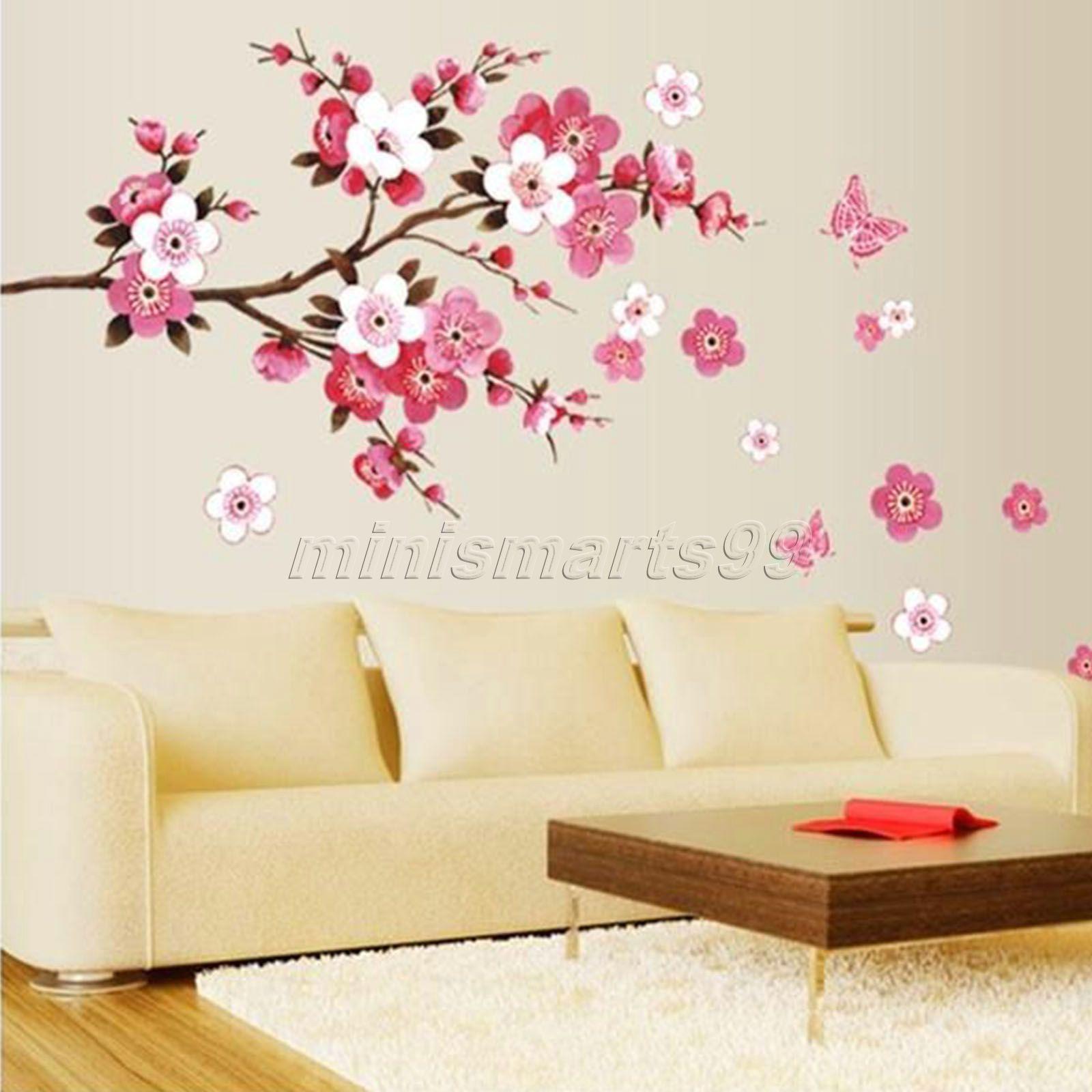 US $3.78 29% OFF Sakura Blume Schmetterling Kirschblüte Wandtattoo  Kindergarten Baum Blumen Schmetterling Kunst Kinderzimmer Wandaufkleber  Natur Wand ...