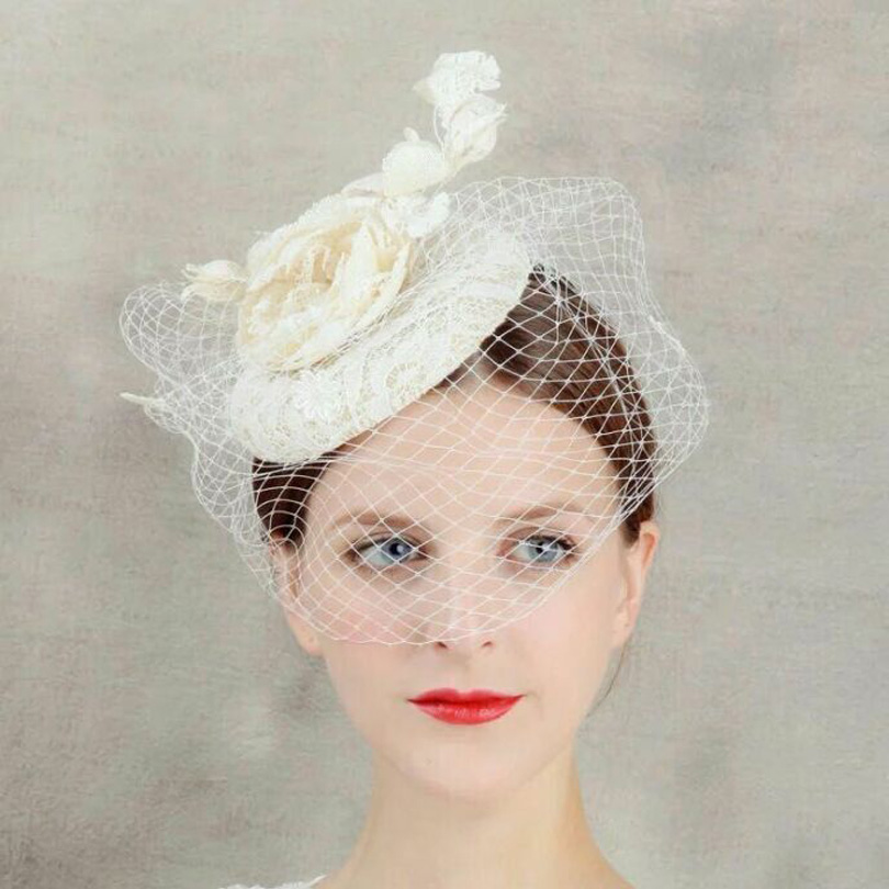 Women Beige Lace Sinamay Fascinator Veil Hat Cocktail Wedding Party Church Fashion Floral Headwear Fancy Linen Hair Accessories бра kolarz pisani kristall 1301 61 3 spt 0112 s01 r