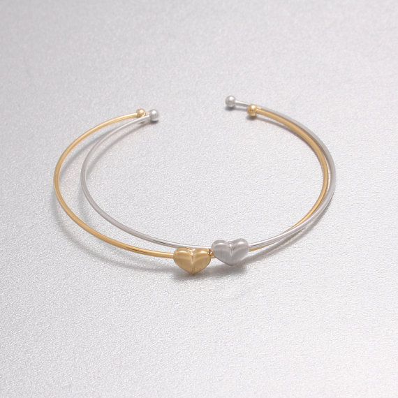 10pcs Textured Mini Size Love Heart Thin Wire Bangle Cuff Bracelet ...