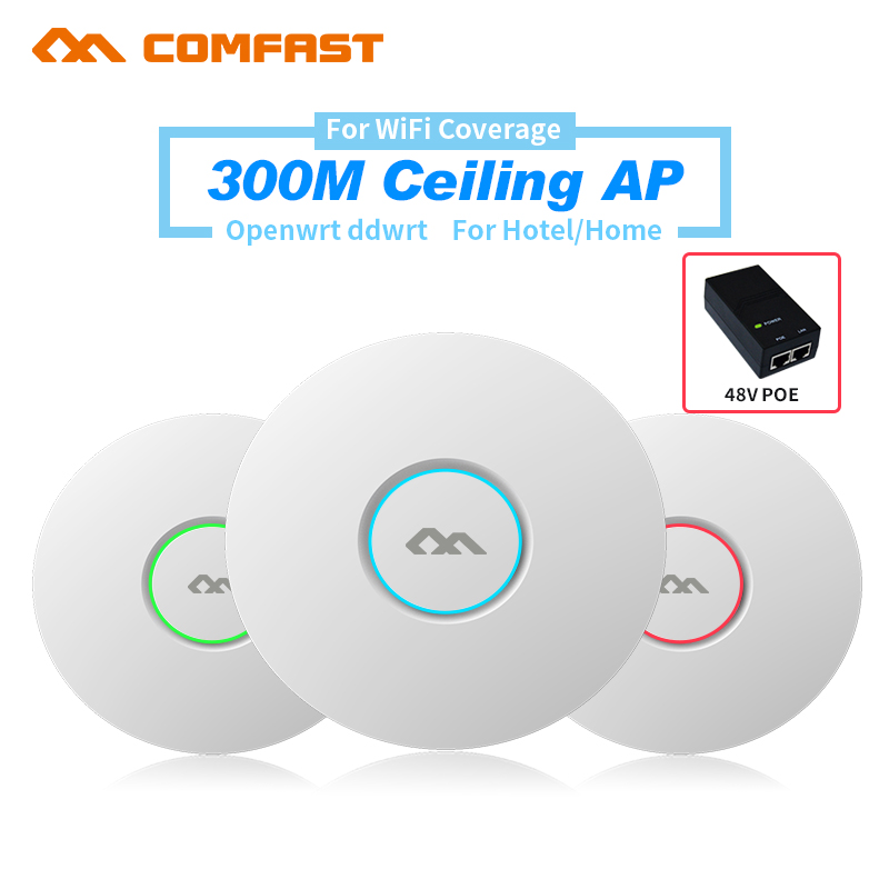 ФОТО 300Mbps Wireless indoor Access Point Ceiling AP Bridge WIFI Router Repeater 2*3dBi Antenna VLAN 48V PoE WI FI Extender
