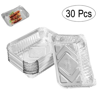 30pcs 570ml Disposable BBQ Drip Pan Tray Aluminum Foil Tin Liners for Grease Catch Pans Replacement Liner Trays Without Cover soccer-specific stadium