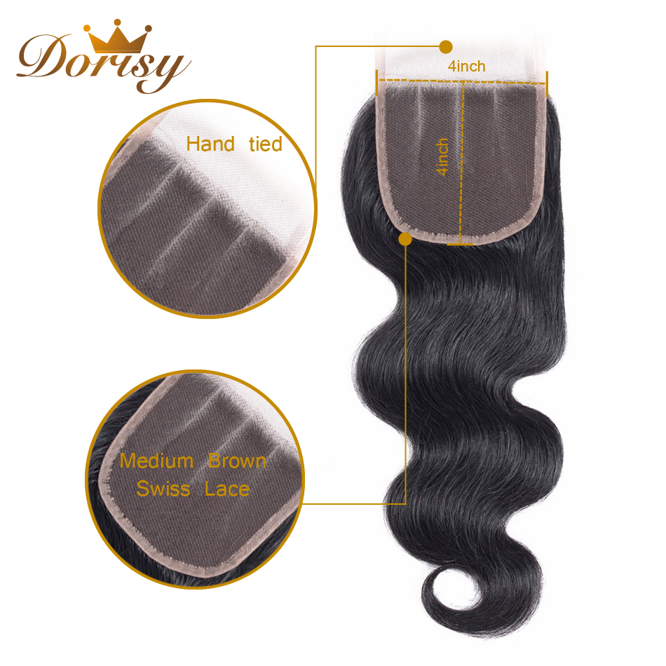 Dorisy Hair Brazilian Hair Weave Bundles Body Wave Natural Color Non Remy 100% Human Hair 3 Bundles With Closure Hair Extensions
