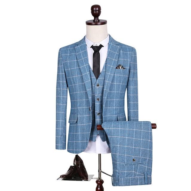 Large size S-5XL 2016 men's boutique slim leisure pure cotton grid three-piece suits/men(jackets+vest+pants)BLAZERS jackets coat