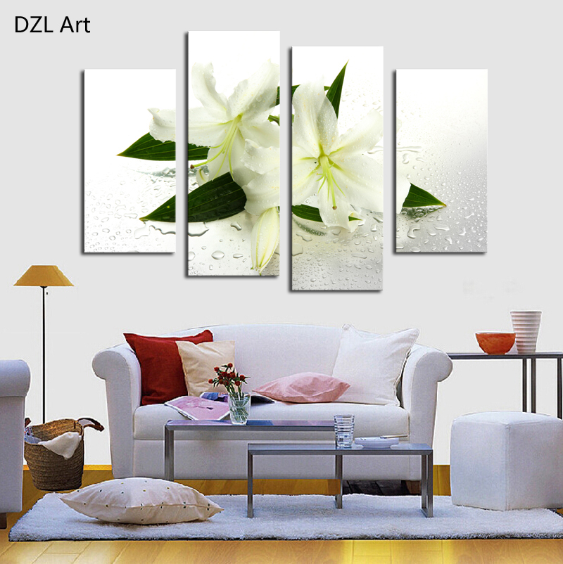 Picture For Home Decoration: 4 Panels (No Frame) White Flowers Painting Canvas Wall Art