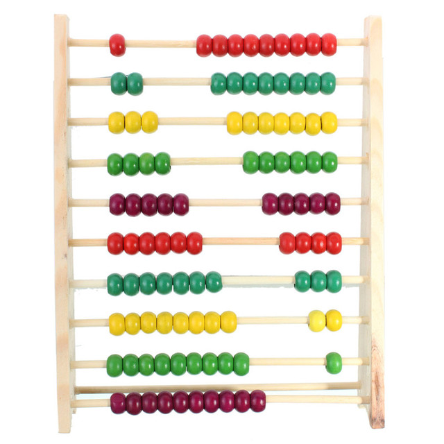 100 Beads Wooden Abacus Counting Number Preschool Kid Math Learning ...