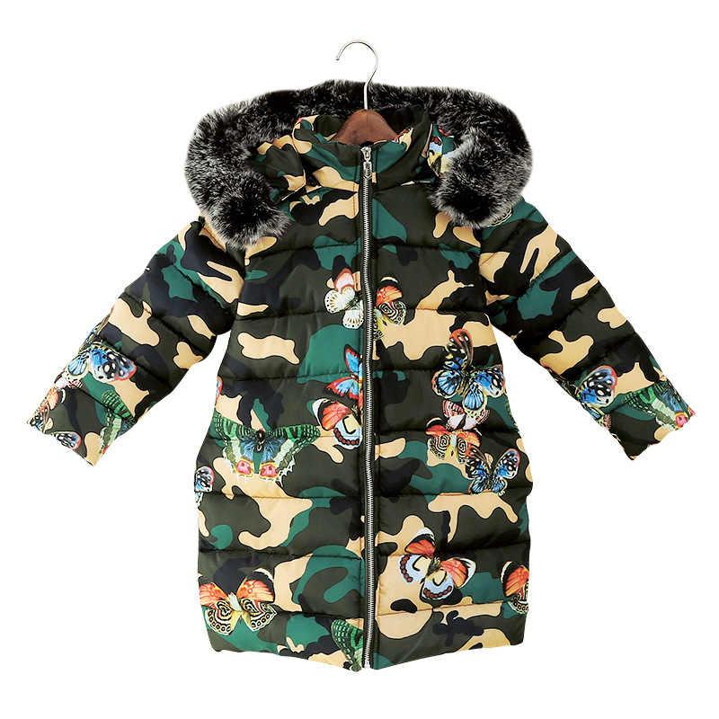 Ropa de niñas Otoño Invierno chaqueta chico Niño con capucha de piel grueso diseño cálido a prueba de viento Como mariposa estampado Niño Casual abrigo de algodón