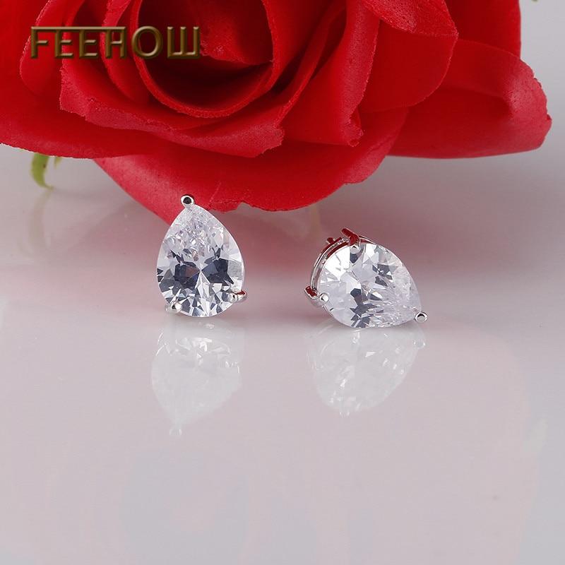 FEEHOW Dardhë e modës Pritini 9 mm & 6mm Uji Drop Cubic Zirconia - Bizhuteri të modës - Foto 2