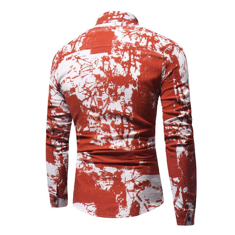 Черные белые мужские рубашки в цветах 2018 весна осень длинный рукав платье рубашка мужская повседневная брендовая пляжная гавайская рубашка Masculina