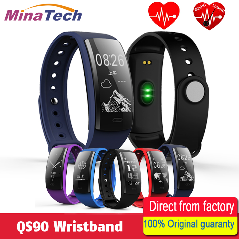QS90 Blood Pressure Smart Bracelet Heart Rate Monitor Blood Oxygen Monitor Fitness Tracker for Andriod IOS smart phone VS QS80