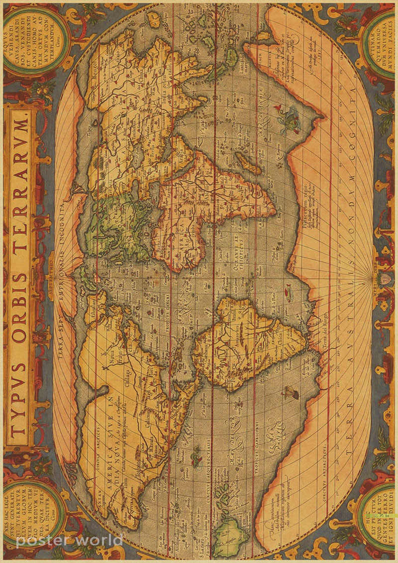 Vintage World Map Home Decoration Detailed Antique Poster Retro Cloth  Poster Globe Old World Nautical Map Gifts