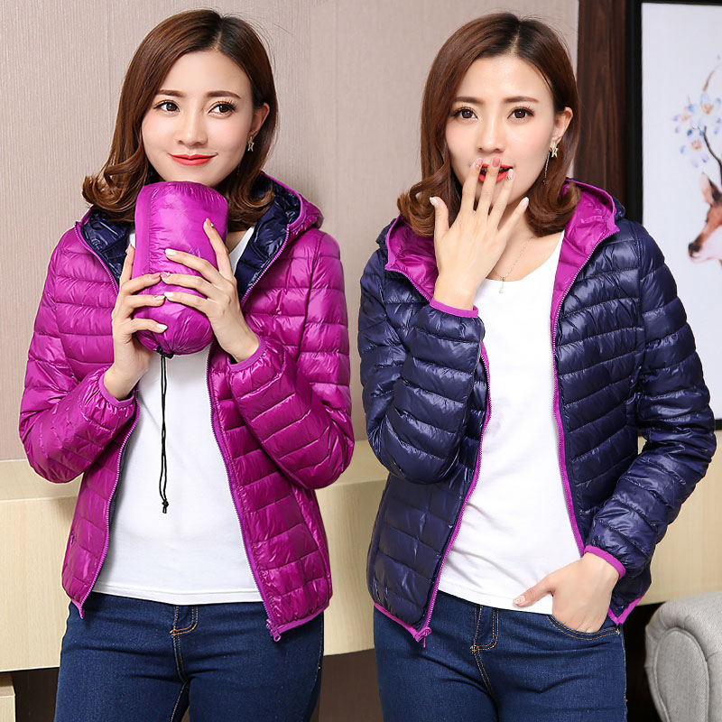 TIARAKA Women's Jackets Ultra Light   Down   Jacket Women 2019 New Autumn Winter   Coat   Jackets For Women Two Side female jacket pink