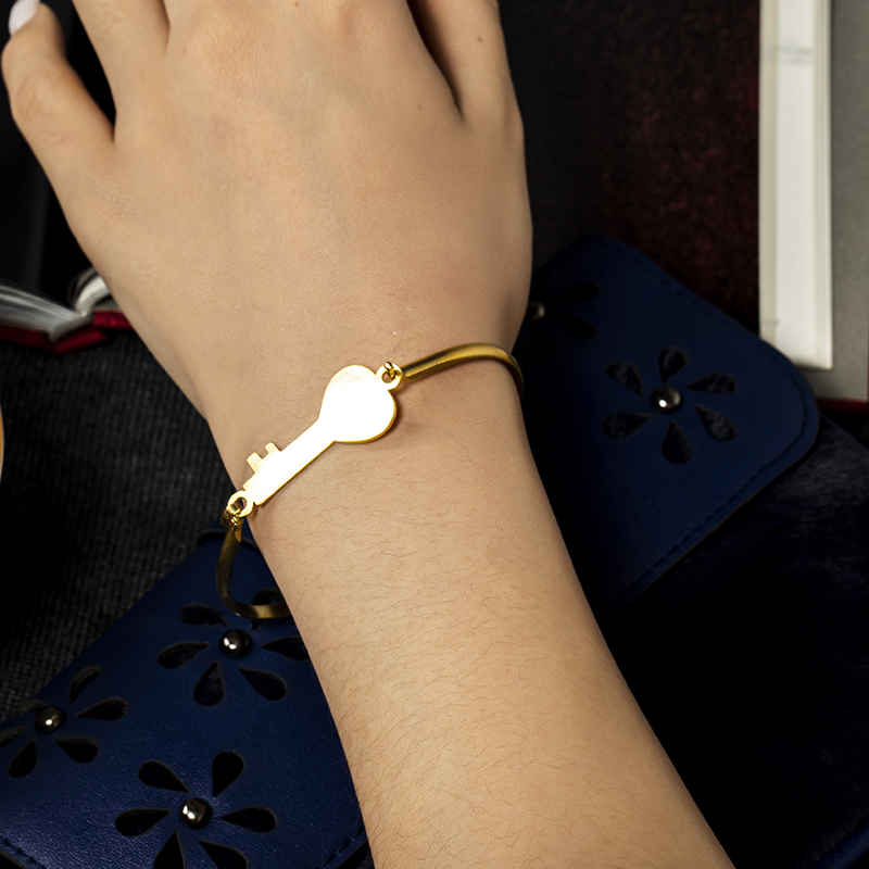 GFLV Fashion Classic Wind Contracted Bangle Golden Key Shape For Women Trendy Geometric Bangle Jewelry Decoration B208 06 in Bangles from Jewelry Accessories