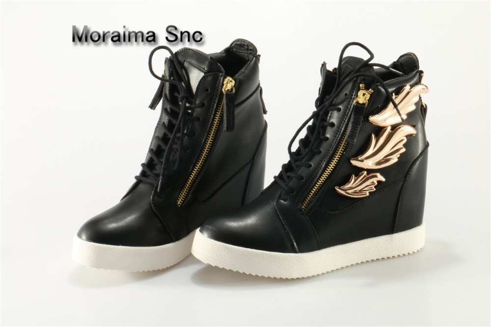 Moraima Snc Lace Up Shoes Back Zip Ankle Boots Women Height Increasing Women Shoes Gold Leaves Decor Sneakers Shoes high quality недорого