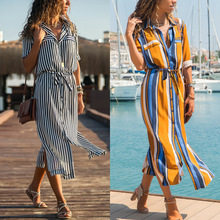 цена на Women Side Split Shirt Dress Stripe Printed Long Sleeves Button Bandage Belt Chemise Long Dress Black