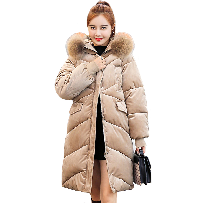 2019 New Arrival Women Winter Jacket With Big Fur Collar Hooded Oversize Female   Parka   Warm   Parkas   Coats Long Velvet Coat