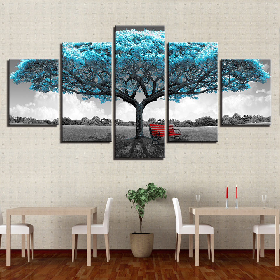 Modern Printing Type Painting Modular Fashion Picture Wall Art 5 Panel Blue Tree Canvas Home Decoration For Living Room in Painting Calligraphy from Home Garden