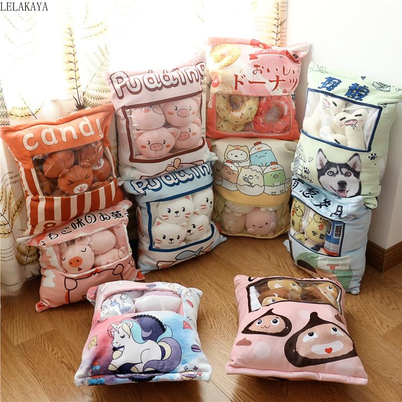 A Bag Of Plush Cartoon Pig Dogs Cat Pudding Pillow Donut Cotton Candy Creative Stuffed Plush Pillows Xmas Gift Decoration Doll