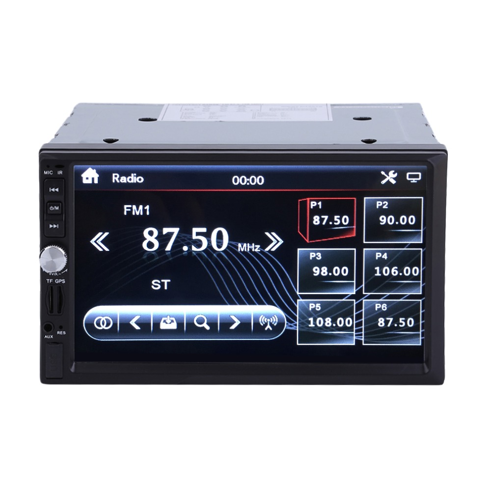 7 Inch HD 2 Din Bluetooth In-Dash Car Radio Stereo Audio MP5 DVD Player Support USB TF AUX Rearview Camera UK Plug 7021G