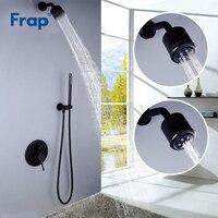 Frap Shower Sets System Luxury Black Bathroom Faucet Shower Head Ceiling Mount Arm Diverter Mixer Handheld Spray Y24022