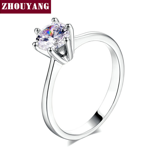 ZYR013 Six Claw Cubic Zirconia Silver Color Wedding Ring Made with Austrian Crystals jewelry Wholesale