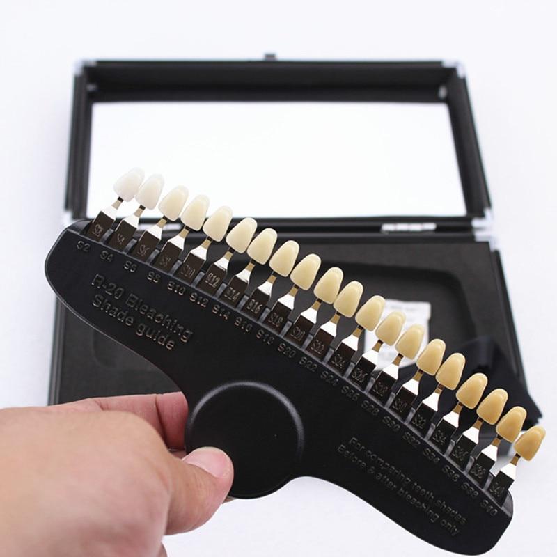 Blanchiment des dents dentaires R20 Guide d'ombre avec miroir porcelaine dentaire Pan classique 20 couleurs Guide d'ombre 3D