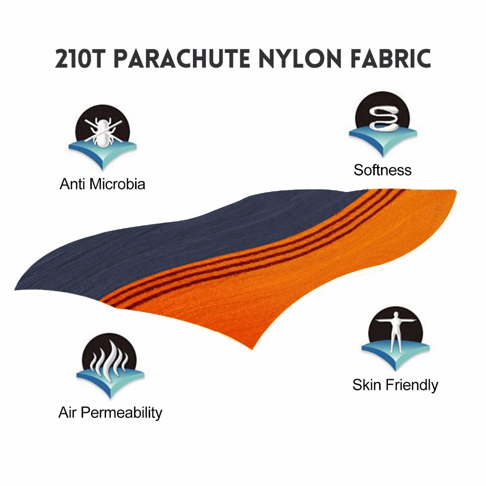 Image 2 - Solid Color Nylon Parachute Hammock Camping Survival garden swing Leisure travel Portable outdoor furniture FREE SHIPPING 2018-in Hammocks from Furniture