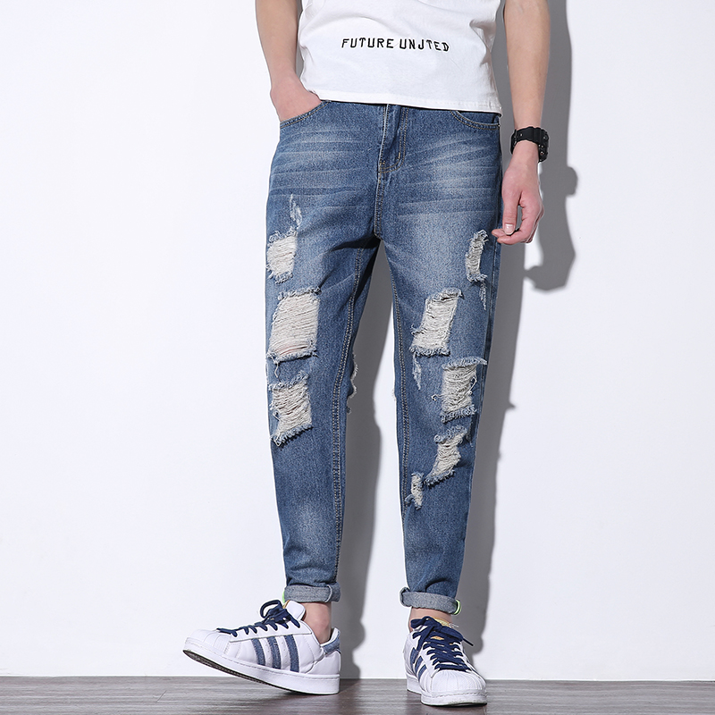 Top Quality Men Jeans Spring Summer New Hip Hop Ripped Jeans Men Plus Size Ankle Lenght Streetwear Hole Denim Pants Men Trousers