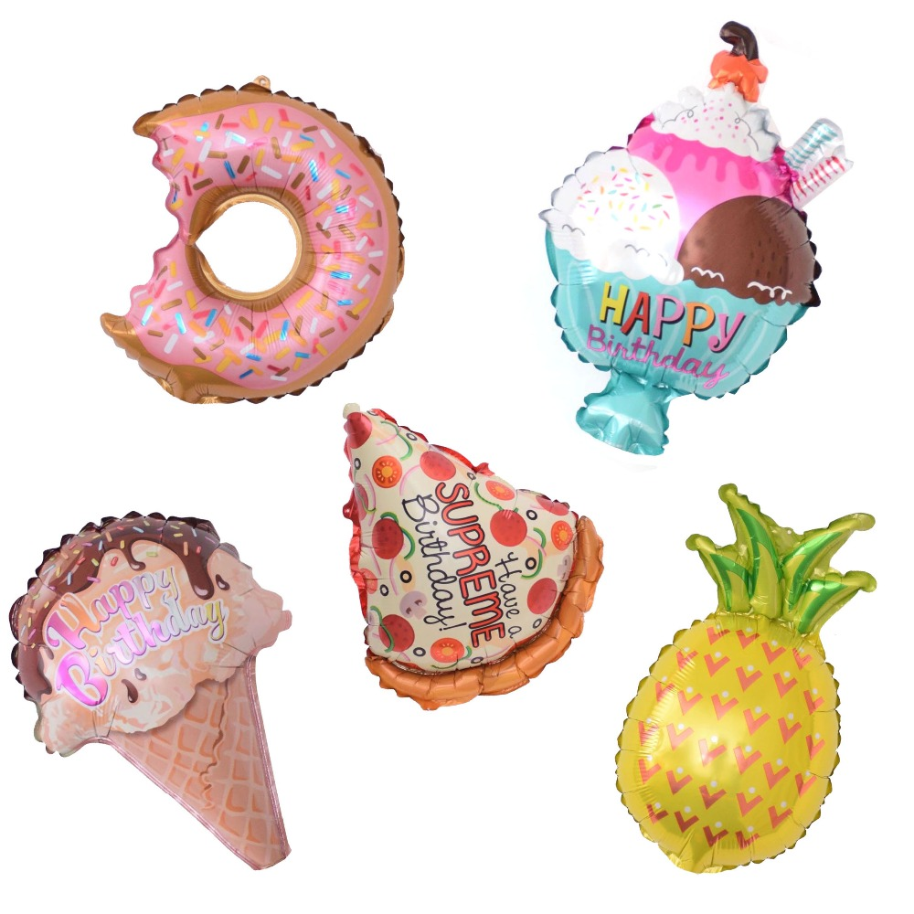 1pcs Mini Pineapple Donuts Cream Pizza Foil Balloons Birthday Party Decor Air Ballons Kids Party Baby Shower Supplies