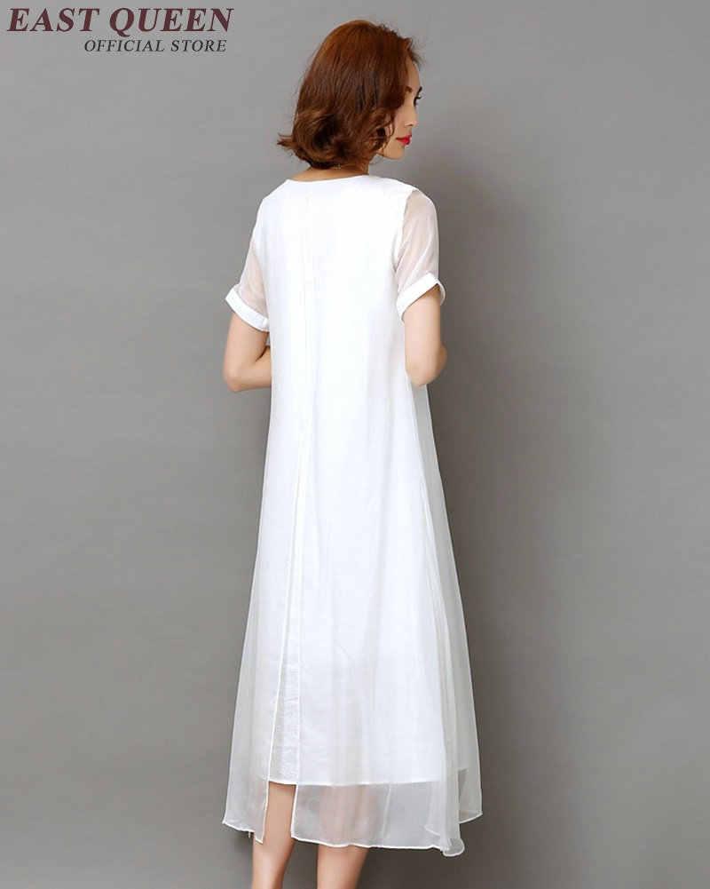 chinesische oriental kleider frauen weiß leinen kleid damen frauen leinen  kleidung chinesischen stil bestickte leinen kleid aa1083