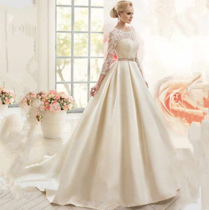 Ivory Ball Gown Wedding Dress: Ball Gown Wedding Dresses With 3/4 Sleeves Ivory Satin
