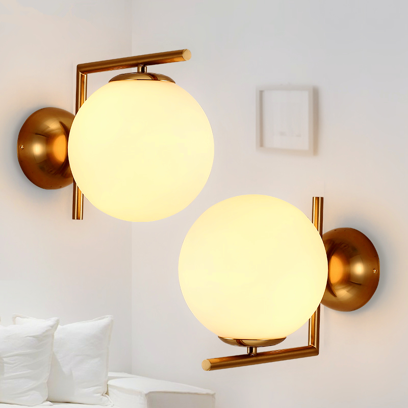 Nordic Modern simple living room wall lights aisle glass personality creative bedroom led wall lamps modern simple led wall lamp bathroom mirror lamps reading light living room bedroom aisle wall lights free shipping