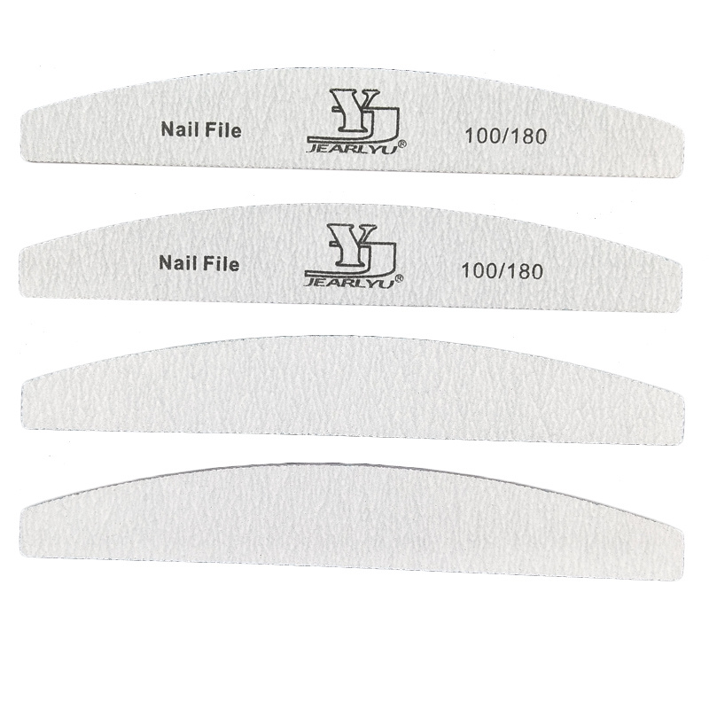 20pcs Nail Files lime a ongle Professionel 80 100 180 Grit Sanding Block Moon Shape Nail Art File DIY Buffering Tools Polishing in Nail Files Buffers from Beauty Health