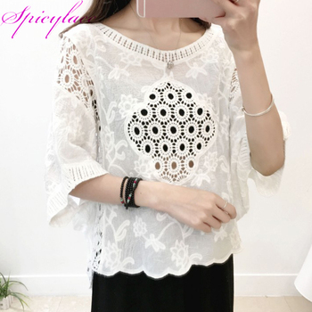 50pc Womens Summer Blouses Beach Elegant Blouses Lace Hollow Out Tops Street-wear Loose Casual Sexy Cotton Blouses фото